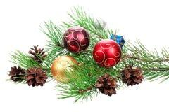 Árvore do ramo do Natal com decoração Imagens de Stock Royalty Free
