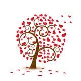 Árvore do Valentim, amor, folha dos corações queda ilustração stock