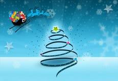 Árvore do Xmas com Santa ilustração stock
