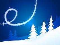 A árvore do Xmas significa flocos e cumprimento da neve Foto de Stock