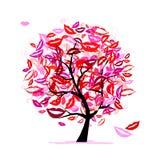 Árvore dos beijos com bordos e sorrisos ilustração do vetor