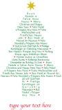 Árvore dos cumprimentos do Natal em línguas diferentes Fotografia de Stock Royalty Free