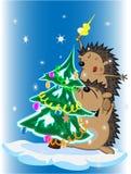 Árvore dos Hedgehogs e de Natal Imagem de Stock