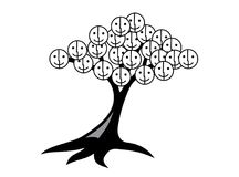 Árvore dos sorrisos e da alegria Árvore com cara do smiley Imagem de Stock