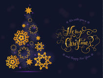 Árvore e bolas do cartão de Natal com rotulação Foto de Stock Royalty Free