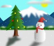 Árvore e boneco de neve de Natal Imagens de Stock
