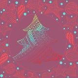 Árvore e brinquedos de abeto do Natal do inclinação no marrom ilustração do vetor