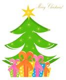 Árvore e caixas de Natal Imagem de Stock Royalty Free