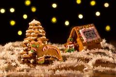 Árvore e casa do pão-de-espécie do Natal com luzes Imagem de Stock