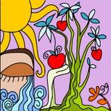 Árvore e corações ilustração stock