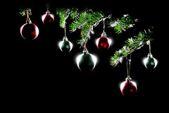 Árvore e esferas da decoração do Natal fotografia de stock