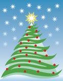 Árvore e estrelas de Natal ilustração stock