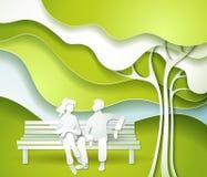 Árvore e família verdes ilustração do vetor