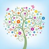 árvore e flor colorida ilustração stock