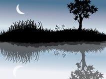 Árvore e lua Ilustração Royalty Free