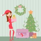 Árvore e menina de Natal Fotos de Stock Royalty Free