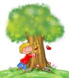 Árvore e miúdo ilustração stock