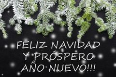 Árvore e neve de abeto no fundo escuro Cartão de Natal dos cumprimentos postcard christmastime Branco e verde vermelhos ilustração stock