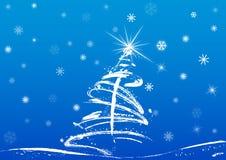 Árvore e neve de Natal ilustração royalty free