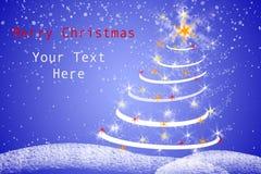 A árvore e a neve de Natal lascam-se no illastration vermelho e verde do inclinação, ilustração do cartão de Natal Fotografia de Stock Royalty Free
