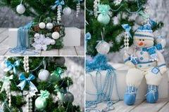 Árvore e ornamento de Natal no azul e na hortelã Foto de Stock Royalty Free