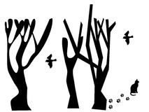 Árvore e pássaro Ilustração Royalty Free