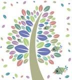 Árvore e pássaros Foto de Stock