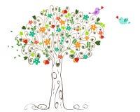 Árvore e pássaros coloridos da mola no amor Fotos de Stock