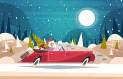 Árvore e presentes do verde de Santa Driving Retro Car With no cartaz do ano novo de Forest Merry Christmas And Happy do inverno ilustração stock