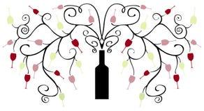Árvore e ramos abstratos da garrafa de vinho com vidros de vinho Fotografia de Stock Royalty Free