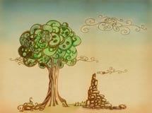 Árvore e ruínas ilustração stock