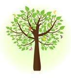 Árvore ecológica com as borboletas que voam ao redor Fotos de Stock