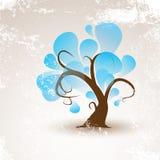 Árvore engraçada do inverno do vetor com grunge branco da neve Fotografia de Stock Royalty Free