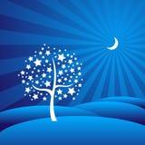 Árvore estrelado em uma paisagem sonhadora Moon-lit Fotos de Stock