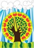 Árvore feericamente sobre o céu azul Fotografia de Stock Royalty Free