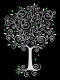 Árvore Filigree no preto ilustração royalty free