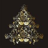 Árvore floral do Natal ou do ano novo ilustração stock