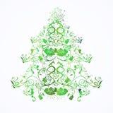 Árvore floral do Natal ou do ano novo Imagem de Stock Royalty Free