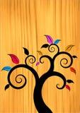 Árvore floral na madeira ilustração do vetor
