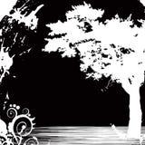 Árvore (fundo preto) ilustração stock