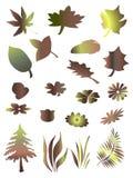 Árvore, grama e folhas ilustração royalty free