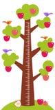 Árvore grande com os pássaros das folhas do verde e as maçãs vermelhas nas crianças que brancas medidor da altura mura a etiqueta Fotos de Stock Royalty Free