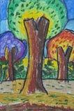 Árvore grande como o desenho da carta branca Fotografia de Stock Royalty Free