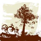 A árvore, grunge floresce o ornamento ilustração stock