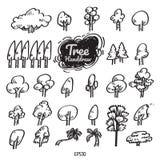 Árvore handdrawn, linhas do black&white, tirando ilustração royalty free