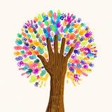 Árvore humana da mão para o conceito da diversidade da cultura ilustração royalty free