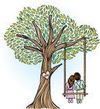 Árvore lunática com amantes Fotografia de Stock Royalty Free