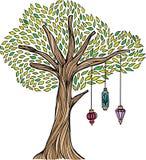 Árvore lunática com lanternas ilustração stock