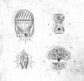 Árvore mágica e místico dos sinais do verde da vida ilustração stock