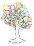 Árvore maravilhosa com os balões em vez das folhas ilustração royalty free